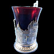 Vintage Figural Ruby Flashed Glass, Scenic Design Franz