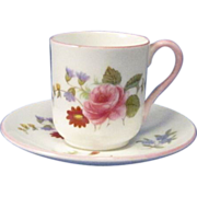 Vintage Shelly Miniature Cut and Saucer Rose Pattern