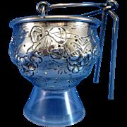 Antique American Sterling Fradley Tea Ball Teaball Strainer w/ Bows & Garland
