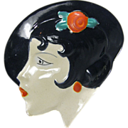 Czech Lady with Hat Dresser Dish 1930s