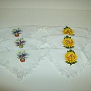 Linen Napkins with Iron On Applique Flowers ~ Iris & Chrysanthemum