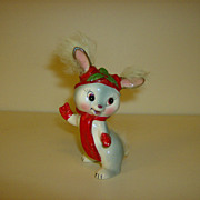 Porcelain Christmas Bunny with Faux Fur