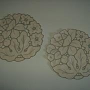 Vintage Round Cutwork Linen Doilies