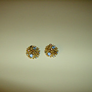 Clip On Earrings ~ Golden Coral ~ Amber & Blue Stones