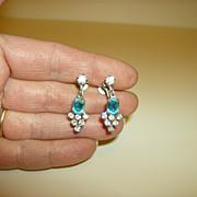 Vintage Dangle Earrings ~ Screw Back ~ Blue &  Clear  Rhinestones