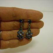 Vintage Aurora Borealis Dangle ~ Screw Back ~ Earrings