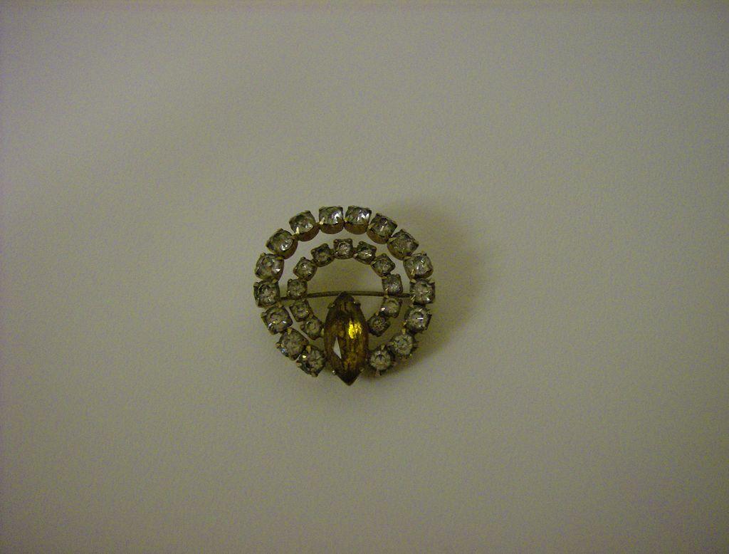 Vintage Amber and Rhinestone Brooch
