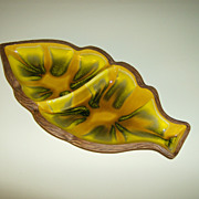 California Pottery ~ Divided Leaf Dish ~ Sequoia Ware ~ 1960's