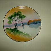 Chikaramachi Hand Painted Plate ~ Sailboat  ~ Circa 1928