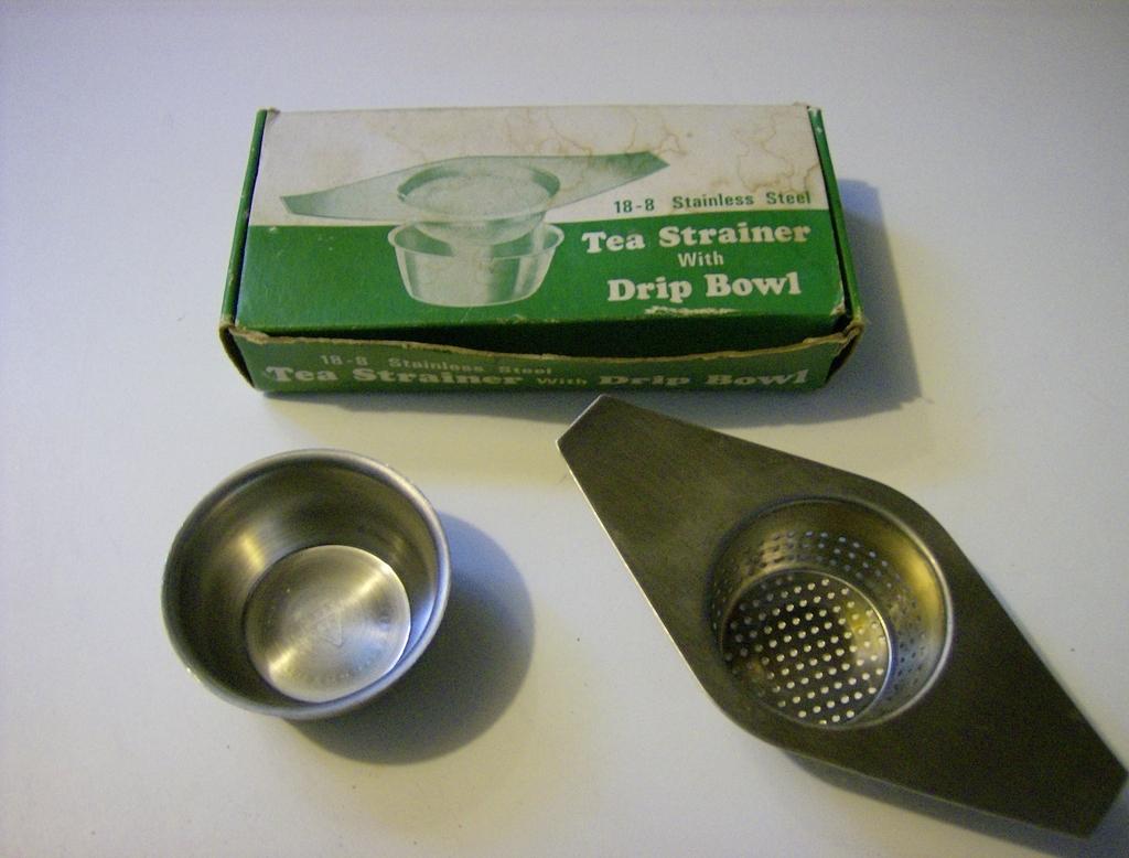 Vintage Tea Strainer with Drip Bowl Original Box