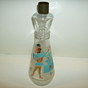 Owens Illinois Frosted Glass Bar Bottle ~ Creme de Cacao  ~ 1960's
