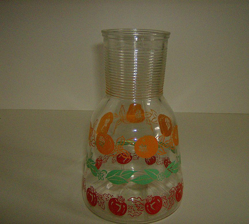 Hazel Atlas Orange & Tomato Juice Carafe
