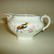 Porcelain Creamer ~ Made in Czechoslovakia ~ Golden Pheasant