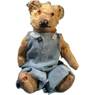 """Cute Antique 11"""" Farmer Teddy Bear in Blue Overalls with His Own 4H Club Pin"""