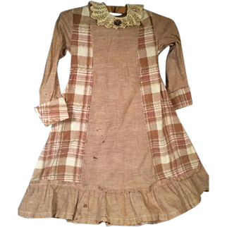 Antique Brown Plaid Edwardian Child's Dress Late / 1800s Early 1900s