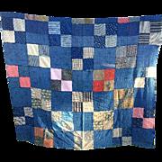 """Antique Quilt Top Indigo Blue 61"""" Square Nice Work Material"""
