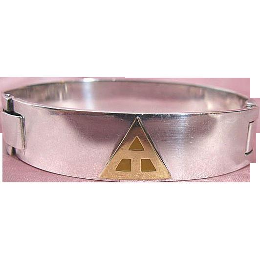 Sleek Modern Italian Sterling Silver & Enamel Bracelet Signed Manfredi