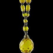 Vintage Art Deco Circa 1930 Czech Glass Pendant Necklace