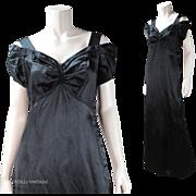 Vintage 1940's Saks Fifth Avenue Off Shoulder Silk Evening Gown