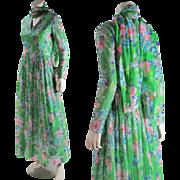 Vintage 1970's Harold Levine Sequined Floral Crepe De Chine Dress And Scarf
