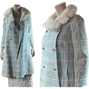 Vintage 1960's Silver Lamé / Lame A-Line Coat With White Mink Collar & Jewel Buttons
