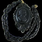 Vintage 1930's Carved Bakelite Cameo Pendant Necklace