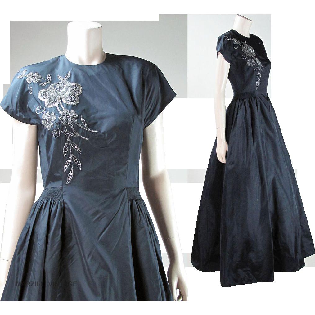 Vintage 1940's Beaded Taffeta Party Dress With Rhinestones