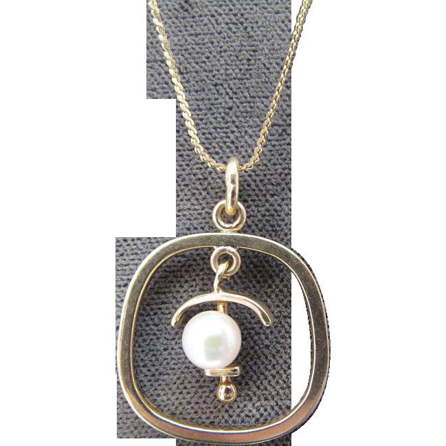 Estate 14K Gold Anchor & Pearl Pendant Necklace