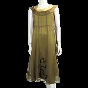 1920's Sleeveless Silk & Silk Chiffon Dress With Velvet Appliqués