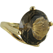 Fine Vintage 14K Gold 13 Carat Madeira Citrine Cocktail Ring
