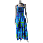 1970's Marimekko Maxi Sun Dress With Shirred Bodice