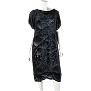 Dramatic Art Deco Patterned 1920's Voided / Devoré Silk Velvet Dress