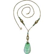 Vintage 14K Gold Green Jadeite Pendant Necklace With Simulated Pearls
