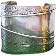 Vintage Modernist Hammered Sterling Silver Cuff Bracelet