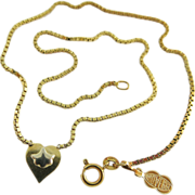 Vintage 18K Gold Box Chain Necklace With Two Color Heart Pendant