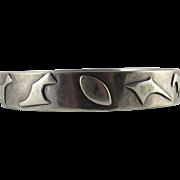 Chunky Vintage Modernist Sterling Silver Bangle Bracelet With Amorphic Shapes