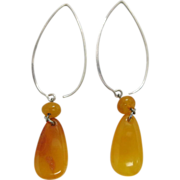 1960's Vintage Silver And Amber Dangle Earrings For Pierced Ears