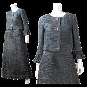 Vintage 1960's Sybil Connolly Pleated Linen Skirt Suit