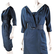 Chic Vintage 1950's R & K Originals Navy Blue Faille Dress