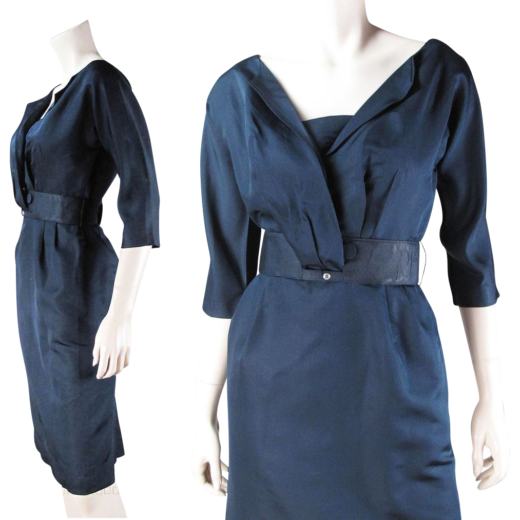 Chic Vintage 1950's R & K Originals Navy Blue Faille Dress