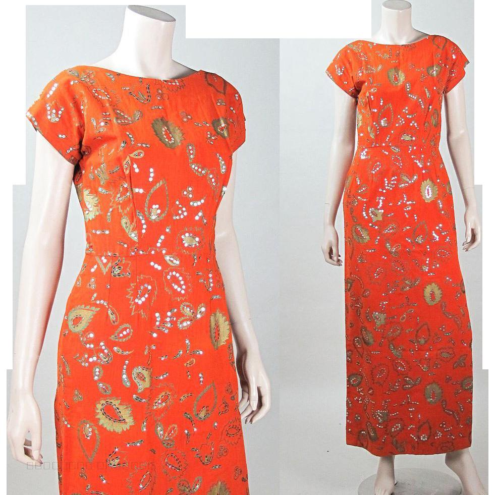 Vintage 1960's Lila Bath Bittersweet Orange Sheath Dress With Metallic Stenciling & Sequins