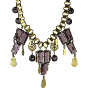 Drippy Vintage Art Deco Book Chain Necklace With Amethyst Glass