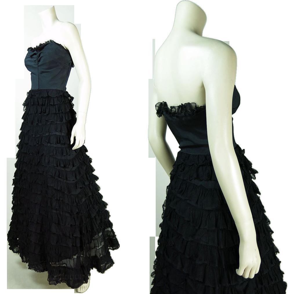 Vintage 1940's Strapless Sweetheart Neckline Evening Gown