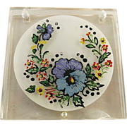 Vintage Rex 5Th Avenue Hand-Painted Lucite Compact