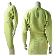 1940's Vintage Kims By Kimberly Boucle Knit Yellow Sweater / Skirt Suit
