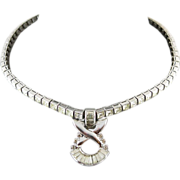 Vintage 1940's Retro Sterling Silver And Rhinestone Pendant Necklace