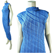 Vintage Issey Miyake Pleated Blue Sleeveless Sheath Dress