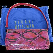 Vintage Stuart Weitzman Red Python Handbag With Dust Bag