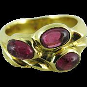 Vintage 18K Gold Rubellite Tourmaline Ring With Three Stones