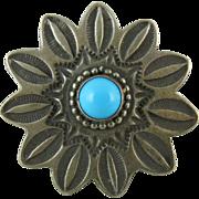Vintage Navajo Native American Silver & Turquoise Peyote Flower Ring Lee Charley